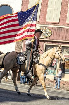 Horseman Holding American Flag At Veterans Day Parade Nashville TN print will make great wall decor for your home, apartment or office. You can have the print framed or unframed and can showcase it on canvas wraps to glass prints. #photography #Nashville #Veterans #VeteransDayParade