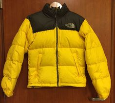 ☀north Face Men's 700 Fill Down☀jacket☀yellow Stow Pocket Hood Puffer Sz XS | eBay