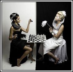 Black and white chess girls