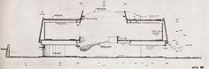 Sección transversal dibujo del proyecto perspectiva de un museo en Tijuana, Baja California, México 1962 Arq. Pedro Ramírez Vázquez y Rafael Mijares - Cross section drawing for a proposed museum in Tijuana, BC, Mexico 1962
