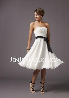 Bridesmaid Dresses - $95.49 - A-Line/Princess Strapless Knee-Length Chiffon  Charmeuse Bridesmaid Dresses With Ruffle  Sash (007000954) http://jenjenhouse.com/A-line-Princess-Strapless-Knee-length-Chiffon--Charmeuse-Bridesmaid-Dresses-With-Ruffle--Sash-007000954-g954