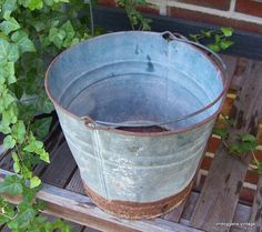 Vintage Rusty Galvanized Bucket Pail With Handle by imdoggone, $12.00