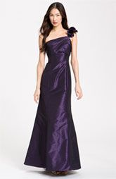Amsale Ruffle Shoulder Taffeta Gown - Nordstrom Mulberry