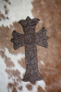 Cast Metal Wall Cross with Pretty Florals