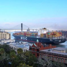 Largest ship to call on the Port of Savannah.  If you are dinning down on River Street these ships coming by will literally turn day into night!