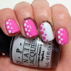 Pink and White Dots - nail design