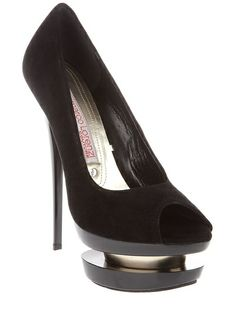 Black suede high heeled shoes from Gianmarco Lorenzi featuring a peep toe and a doubled up platform sole.