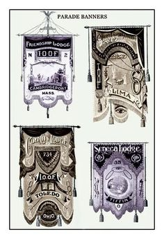 Odd Fellows: Parade Banners: Ohio and Massachusetts 12x18 Giclee on canvas
