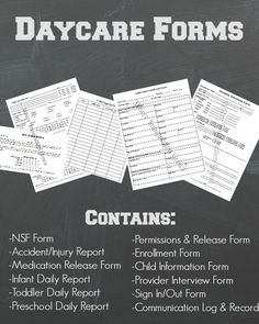 Daycare Forms & Records for In-Home Daycare Providers