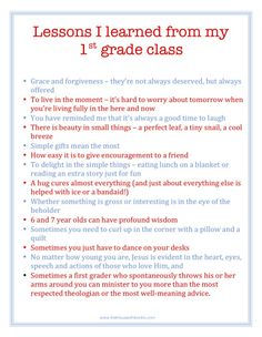 Letter from a teacher to her 1st grade class on the last day of school. (Printable)