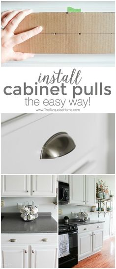 Installing cabinet hardware can be intimidating! This simple trick makes installing new cabinets pulls so easy!