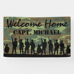"""Welcome Home Deployment Banner US Flag Decoration for Military Soldier 62/"""" x 22/"""""""