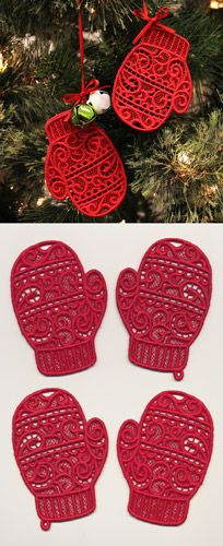 Stitch this adorable mitten pair in four pieces onto water soluble stabilizer, then rinse away to reveal lace. Glue or stitch the front pieces to the back pieces. Size listed for one piece, stitch count listed for all four pieces together.