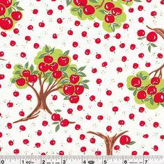 japanese fabric. apple trees.