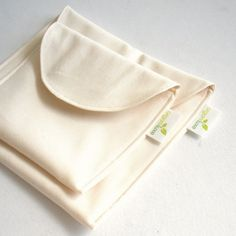 Natural Sandwich and Snack Bag Set of 2 - Organic Cotton, Eco Friendly, Reusable #backtoschool