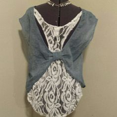 TOP BRAND NEW BLUE & WHITE TOP WITH LACE DOWN THE BACK 2 HEARTS Tops Crop Tops