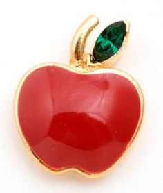 Red Apple with Green Crystal Lapel Pin - Teacher gifts that are a great way to show teacher appreciation! www.LoveToTeach.com