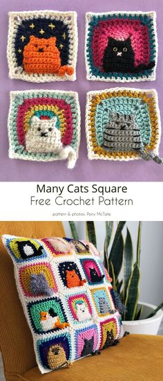 Crochet Cat Blanket Ideas and Free Patterns Crochet Squares, Crochet Motif, Crochet Stitches, Crochet Patterns, Knitting Patterns, Crochet Ideas, Crochet Crafts, Cute Crochet, Sewing Crafts