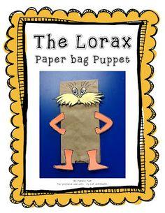 Lorax paper bag Puppet Freebie from First Class Teacher seuss Classroom Crafts, Classroom Fun, Classroom Activities, Kindergarten Themes, Future Classroom, Dr Seuss Activities, Craft Activities, Alphabet Activities, Reading Activities