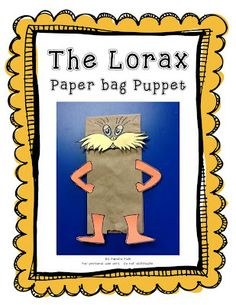 The Lorax Paper bag Puppet #lorax #puppet