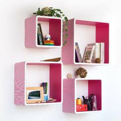 Amazon.com : Trista - [Pink Strip] Square Leather Wall Shelf / Bookshelf / Floating Shelf (Set of 4) : Childrens Shelves : Toys & Games