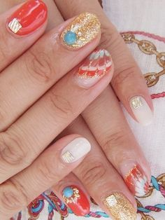 Super Creative Nail Art Ideas - Celebrate the end of the cold season with these super creative nail art ideas. Leave your ordinary girl look behind and embrace a few of these statement nail styles to land in the spotlight. Love Nails, Fun Nails, Pedicure Nails, Gel Manicures, Statement Nail, Tie Dye Nails, Nail Pictures, Finger Nail Art, Creative Nails