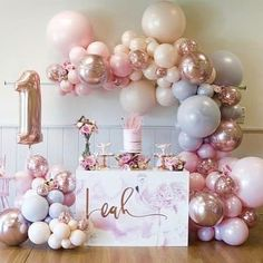 Super ideas for birthday table design party themes Birthday Table Decorations, Birthday Party Desserts, Birthday Party Tables, Baby 1st Birthday, Unicorn Birthday Parties, First Birthday Parties, Unicorn Party, First Birthday Balloons, 1st Birthday Party Ideas For Girls