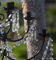 $15 Brass chandelier makeover