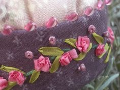 Hot pink ribbon embroidery roses