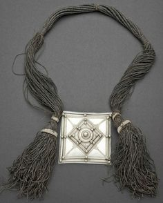 Africa | Amulet necklace from the Tuareg people of Niger | Leather and silver