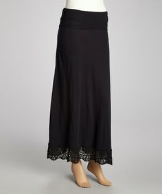 Black Convertible Maxi Skirt by kersh #zulilyfinds - like the crocheted bottom band, great way to add length or a little pizazz to a skirt