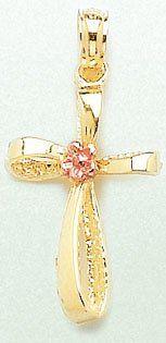 14K Yellow Gold Flower Center Cross Charm Pendant