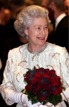 Queen Elizabeth II at the re-opening of the Royal Opera House, Covent Garden, London, England, December