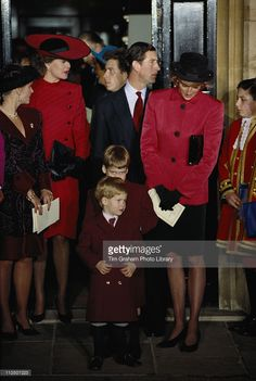 Diana, Princess of Wales (1961-1997), Prince Charles and their two sons Prince William and Prince Harry, attending the christening of Princess Beatrice at the Chapel Royal, St James's Palace, London, England, Great Britain, 20 December 1988.