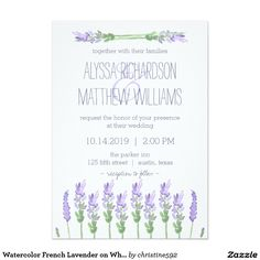 Watercolor French Lavender on White Wedding Card