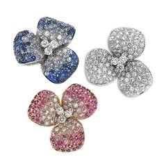 Anelli in oro bianco e rosa,diamanti, zaffiri blu e rosa