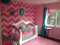 Crib bedding mini crib baby bedding Crib Set- Bumpers/Sheet/Skirt- hot pink dots and turquoise teal chevron