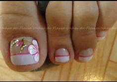 Uñas French Pedicure, Pedicure Nail Art, Toe Nail Art, Manicure, Fancy Nail Art, Fancy Nails, Trendy Nails, Pedicure Designs, Toe Nail Designs