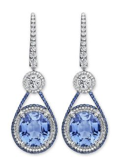 Martin Katz cool pastel blue sapphire and diamond drop earrings.