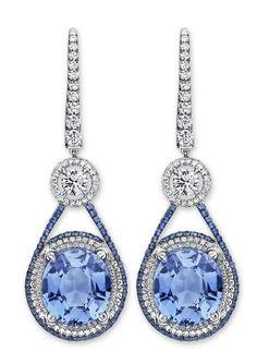 Martin Katz cool pastel blue sapphire and diamond drop earrings.