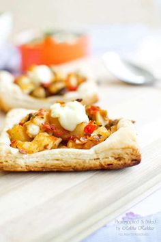 Quick veggie tart recipe using readymade pastry sheet and a delicious filling of veggies and potato.