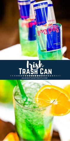 The Irish Trash Can drink is a fun cocktail that mixes up a half dozen varieties of alcohol and then is topped with a can of Red Bull. It's the perfect cocktail for celebrating St. St Patty's Day Drinks, St Patrick's Day Cocktails, St Patricks Day Drinks, St. Patricks Day, Cocktail Drinks, Yummy Drinks, Easy Alcoholic Drinks, Mixed Drinks Alcohol, Alcholic Drinks