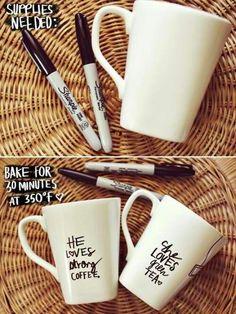 His + Her Sharpie Mug DIY ~ A Beautiful Mess