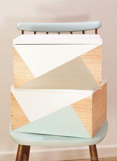 des caisses à vin + une palette = des caisses de rangement originales ;)