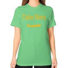CAJUN NAVY YELLOW Unisex T-Shirt (on woman)