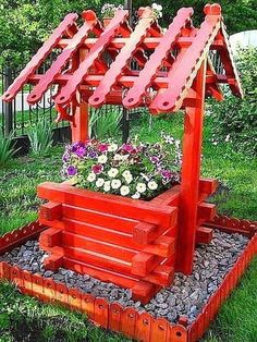 Back Garden Landscaping, Garden Yard Ideas, Diy Garden Projects, Easy Garden, Diy Garden Decor, Garden Crafts, Garden Kids, Backyard Ideas, Wishing Well Garden