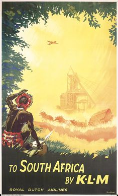 Lot 324: Beautiful Original 1950s KLM South Africa Travel Poster - PosterConnection Inc. | AuctionZip