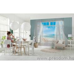 Invite the gorgeous Malibu coastline into your life everyday with this stunning trompe l'oeil beach wall mural. Gauzy white curtains billow in the sea breeze of an open window, with a sunny California beach scene stretching as far as the eye can see. Beach Wall Murals, 3d Wall Murals, Poster Xxl, Poster Mural, Wallpaper Uk, Malibu, Nautical Wall Decor, Beach Cottages, Living Room Decor