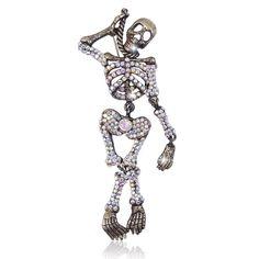 EVER FAITH® Austrian Crystal Halloween Skull Brooch Clear Black-Tone A09492-1