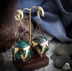 Brass and malachite ear weights from Diablo Organics